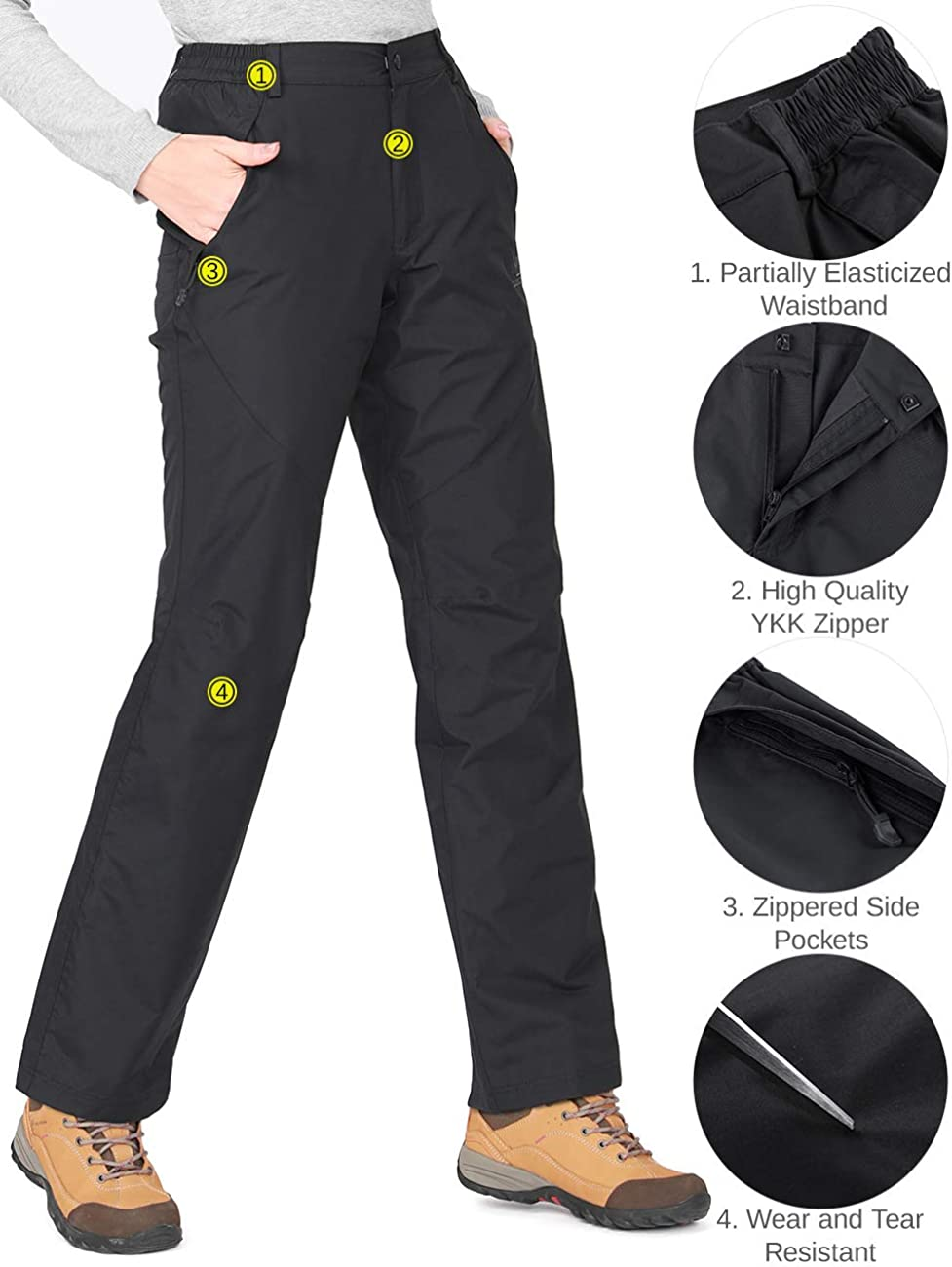 CAMEL CROWN Womens Snow Ski Pants Insulated Fleece Lined Waterproof Windproof Outdoor Sports Mountain Hiking Pants