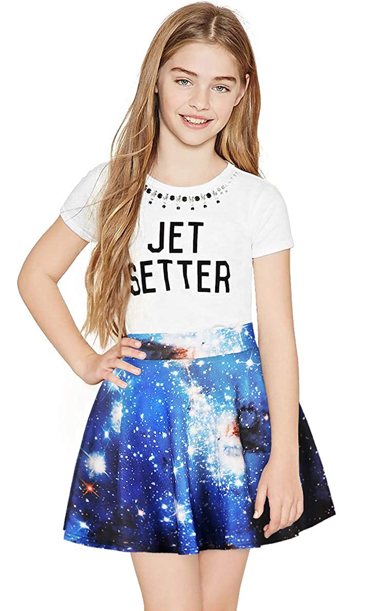 Imbry Girls Pleated Allover Galaxy Printed Skirt A-Line Skater Mini Skirt
