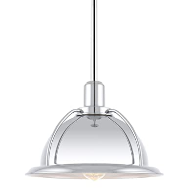 Kira Home Bennett 9.5 Modern Industrial Hanging Pendant Ceiling Light, Adjustable Height, LED Compatible, Chrome Finish