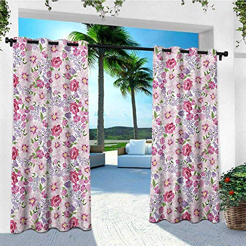- leinuoyi Watercolor, Outdoor Curtain of Lights, Blossoming Field in Graceful Spring Theme Fresh Carnation Poppy Peony, for Balcony W84 x L96 Inch Lavander Pink Green