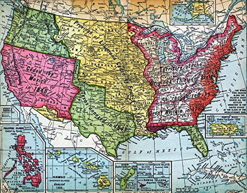 Map of United States Expansion Wall Decal - 18 Inches W x 14 Inches H - Peel and Stick Removable Graphic