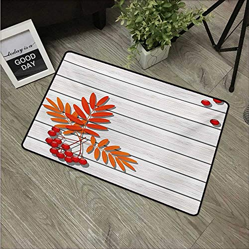 HRoomDecor Rowan,Doormat Graphic Design of Autumnal Foliage on Wooden Planks Freshness Growth Ecology W 16