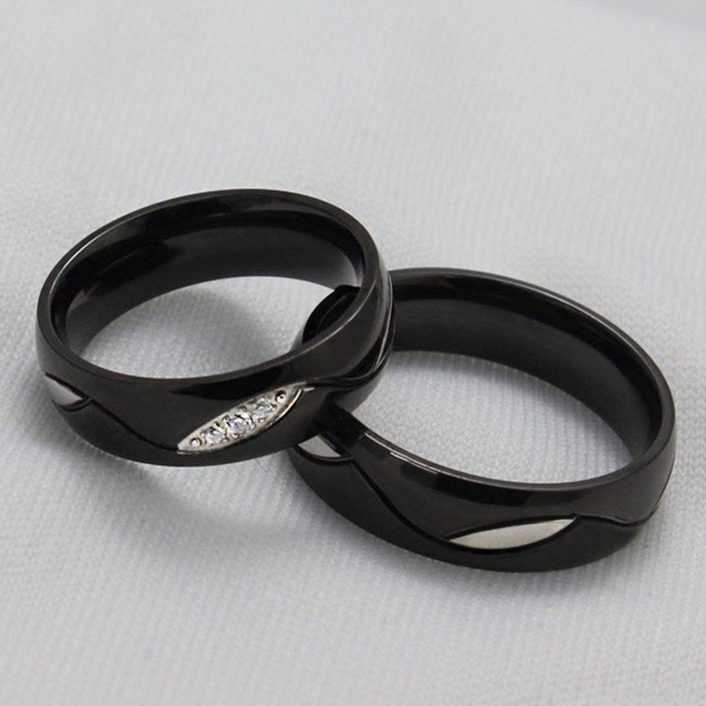 Epinki Stainless Steel Rings for Women Wedding Ring Black Wave Cubic Zirconia Width 6MM Size 13