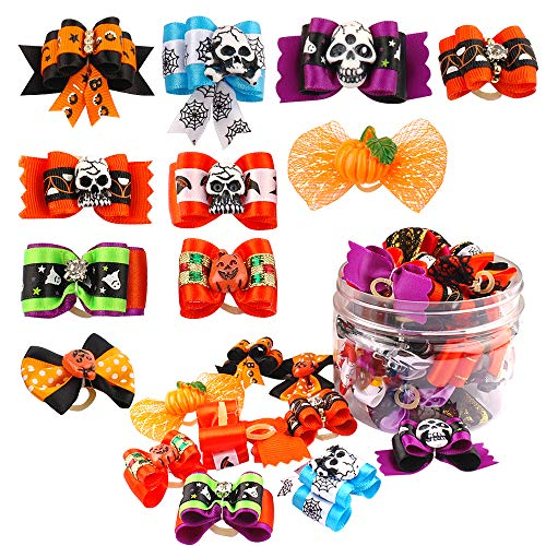 (20pcs Pet Cat Dog Hair Bows with Rubber Bands Dog Hair Accessories Halloween Grooming Pet Headwear for Puppy Yorkshire)