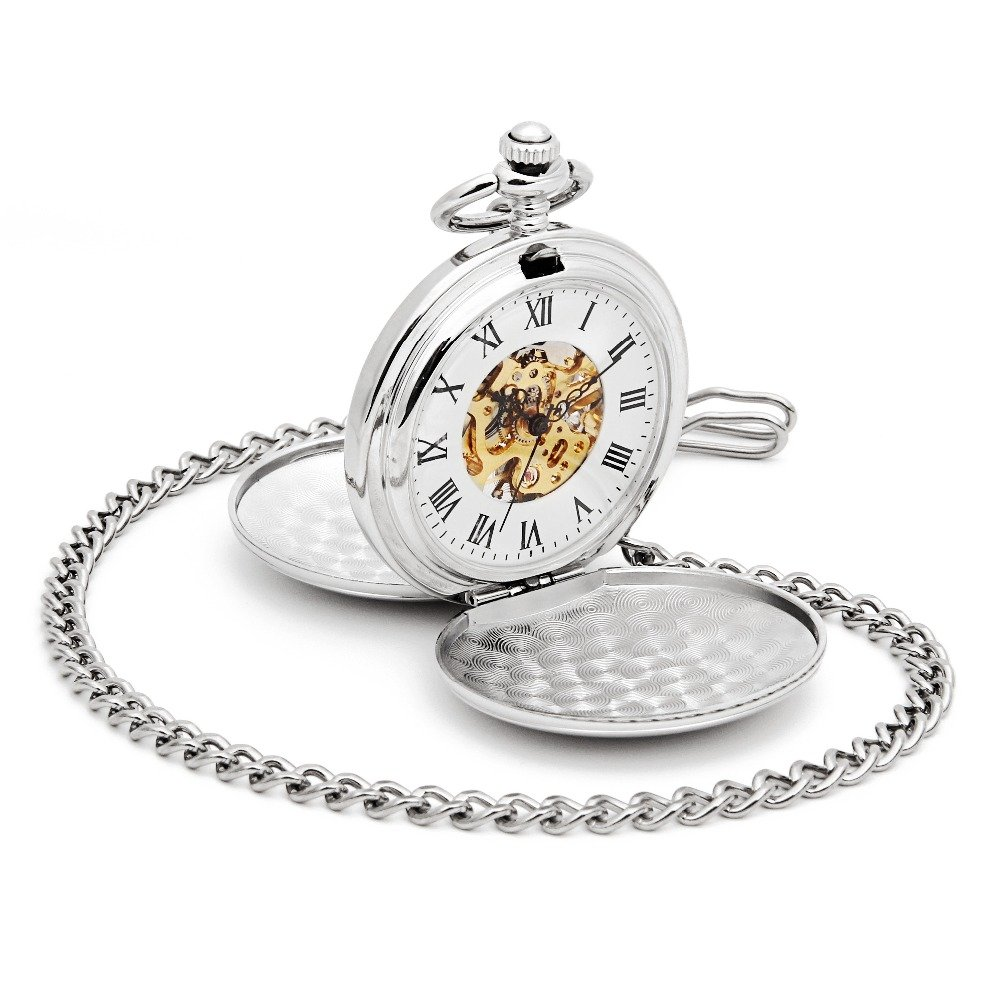 Skeleton Pocket Watch Mechanical Movement Hand Wind Double Full Hunter Silver Tone Engravable Roman Number Dial w/Chain Gift