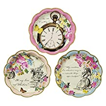 Talking Tables Truly Alice Dainty Party Plates (12 Pack), Multicolor
