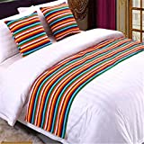 YIH Bed Runner Colors Stripe With Cushion Cover, Luxury Hotel Wedding Room Bedroom Decorative Bed End Scarf Protector Slipcover Pad For Pets, 82 Inches By 19 Inches