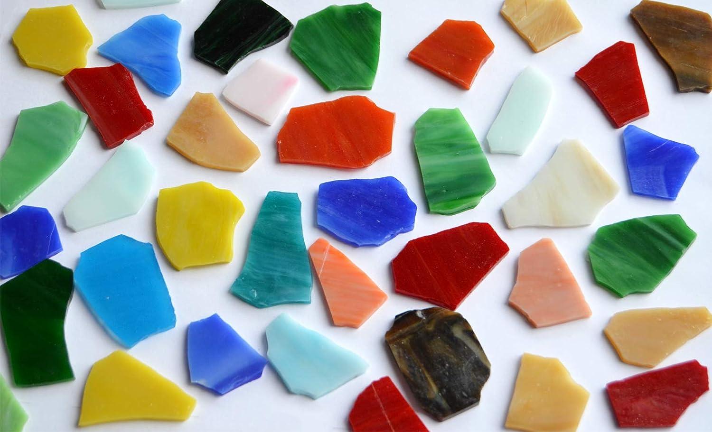 300 g, piezas de cristal Tiffany de aprox. Mosaico de rotura multicolor de 2 a 5 cm.