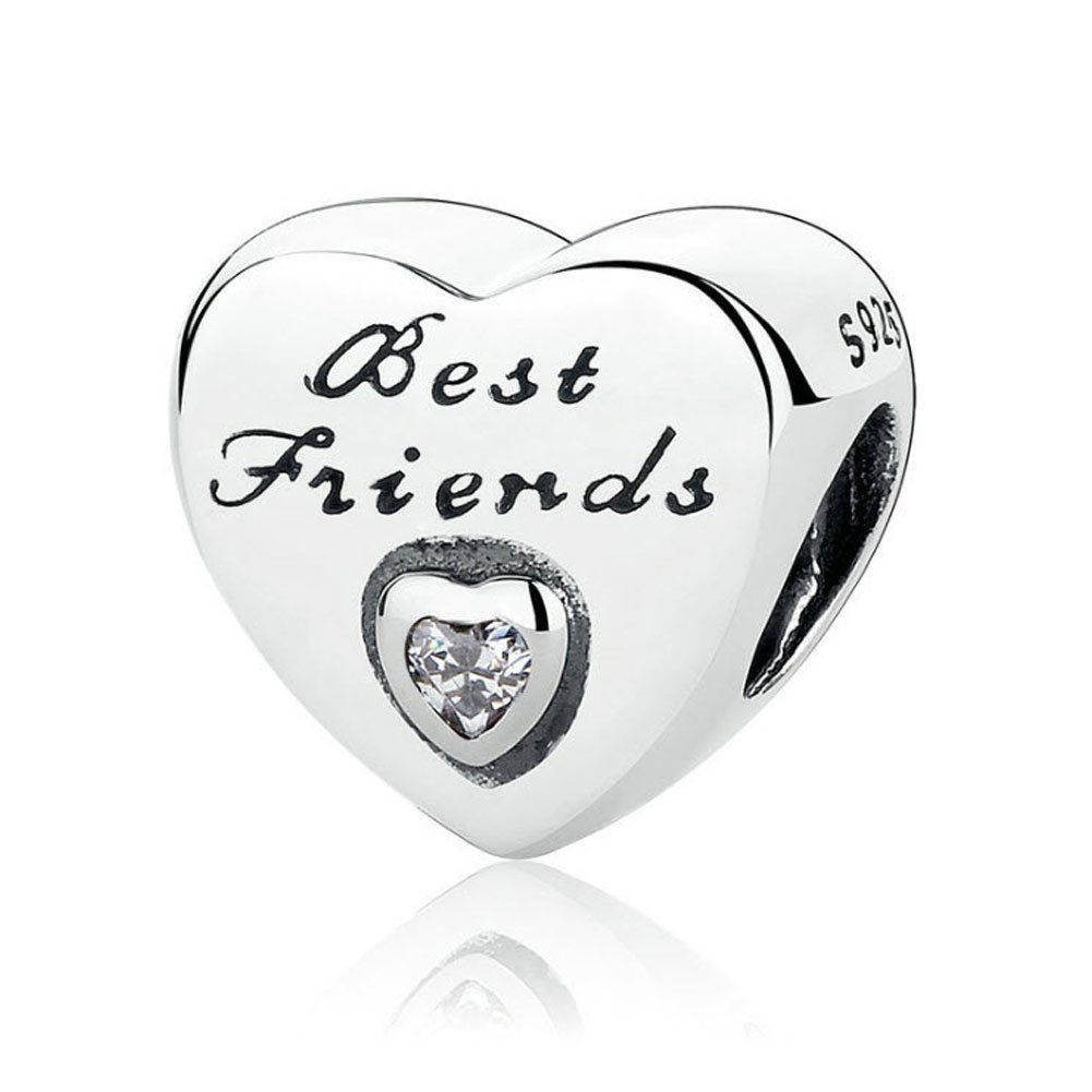 Romántico Amor Fit Pandora Bracelet Women's Daughter/Sister/Best Friend BFF Heart love Silver Charms (3)