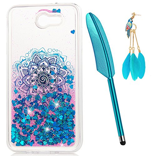 ZSTVIVA Galaxy J7 Case, J7 2017 Case, Liquid Glitter Case Bling Shiny Flowing Love Heart Cover Clear TPU Bumper for Samsung Galaxy J7 2017 with Stylus Plug Dust Blue Mandala Totem Flower]()