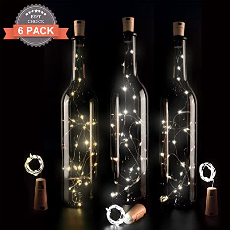 6 PCS Botella Luz LED cadena de luces luces de botellas de vino Botellas Cadena Luces