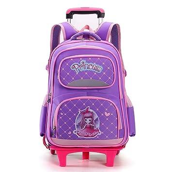 YiAmg Niños Trolley Bolsas de Escuela Para Grils princesa Rueda escuela Mochila Mochila Escolar Niños Rueda Mochila Mochilas Estudiante Mochilas, ...