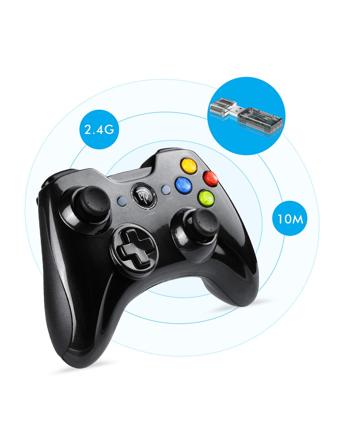 Wireless Game Controller, EasySMX KC-8236 2.4G Wireless Gamepad, Dual Vibration, 8 Hours of Playing for PS3/PC/Android Phones, Tablets, TV Box