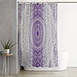oFloral Grey Purple Ombre Mandala Holy Violet Shower Curtain Decor Shower Curtain Set with Liner Waterproof fabric Polyester for Bathroom Decor 72X84 inch