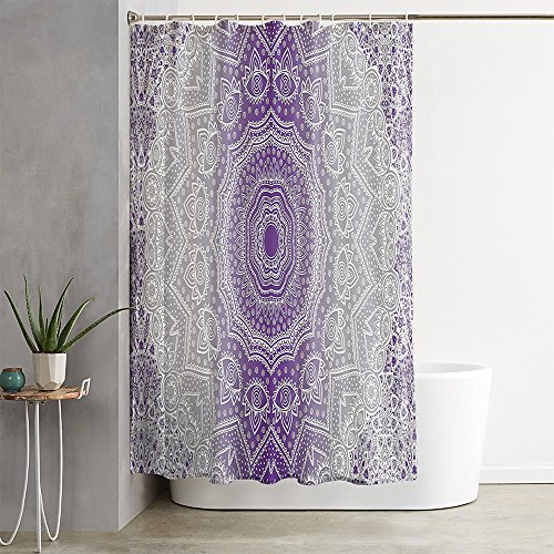 oFloral Grey Purple Ombre Mandala Holy Violet Shower Curtain Decor Shower Curtain Set with Liner Waterproof fabric Polyester for Bathroom Decor 72X84 inch by oFloral