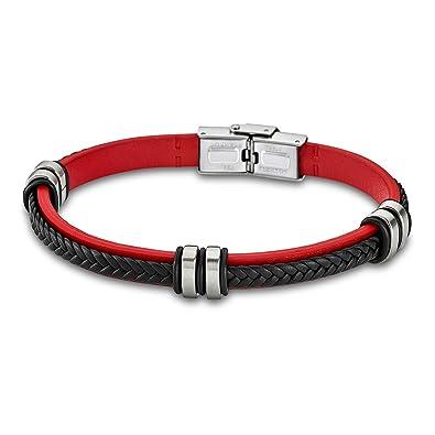 Lotus , LS1829,2/3  Bracelet Homme Cuir et Acier , Rouge et noir  Amazon.fr Bijoux