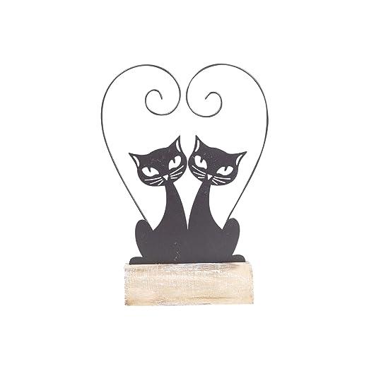 Vidal Regalos Figura Decorativa Pareja Gatos Metal 25 cm: Amazon ...