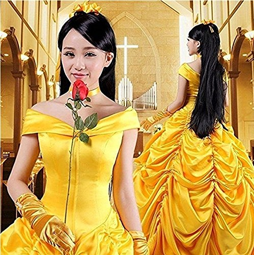HalloweenCostumeParty Beauty and Beast Belle Costume Dress For Adults Woman (L) by HalloweenCostumeParty (Image #4)