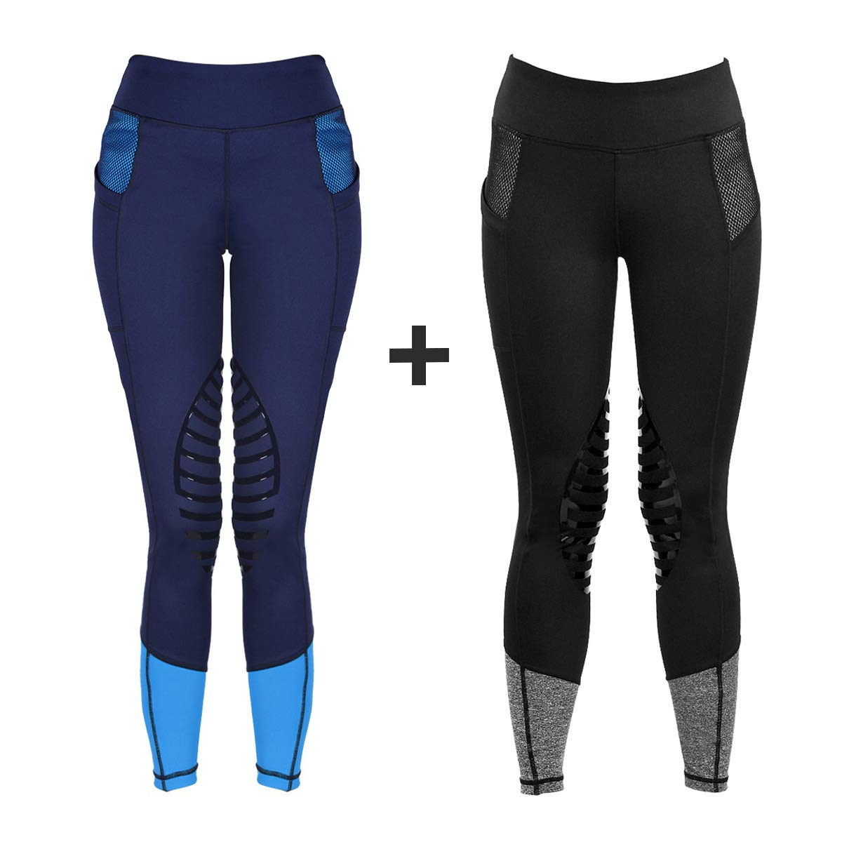 HR Farm Women's Silicone Tights Horse Riding Gel Grip Pull On Leggings with Pocket (Black+ Navy, XS)