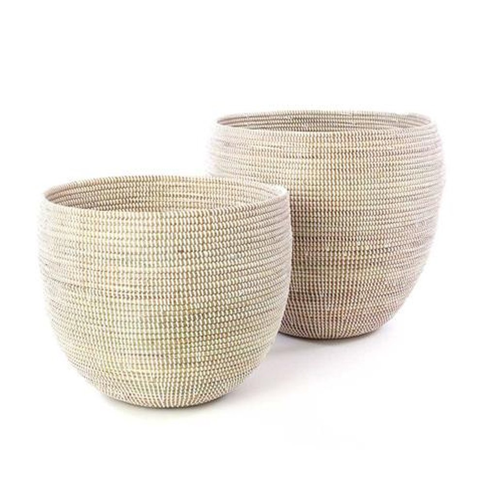 Set Of Two White Deep Nesting Baskets