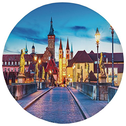 ,Urban,Colorful Sunset Evening View of Old Main Bridge in Historical Land Bavaria Germany,Multicolor,Flannel Microfiber Non-slip Soft Absorbent,for Kitchen Floor Bathroom (Urban Sun Cover)