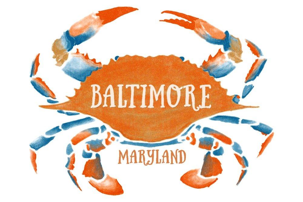 ボルチモア、メリーランド州 – ブルーCrab – ブルーとオレンジ水彩 Cotton Towel LANT-79296-TL B06X6KSX63 Cotton Towel  Cotton Towel