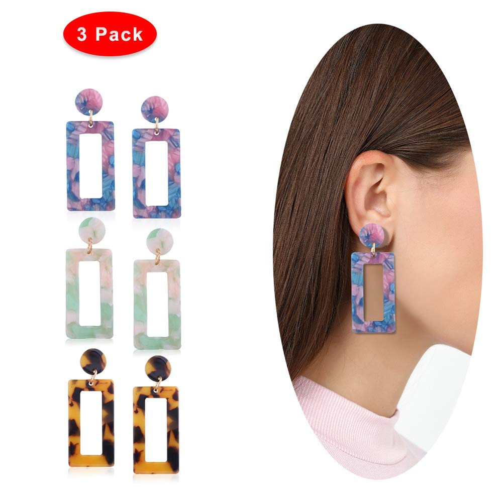 Eternity J. 3 Pairs Geometric Acrylic Resin Statement Earrings Dangle Drop Earrings for Women