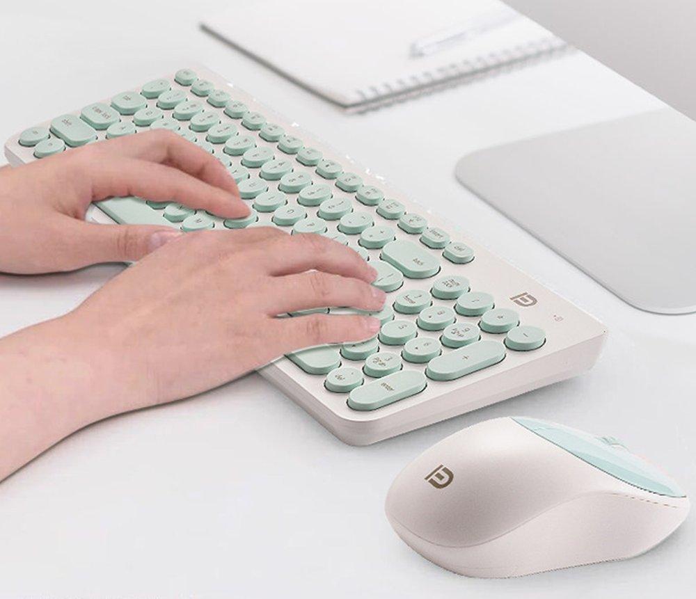 Teclado Inalámbrico y Mouse, EONANT 2 en 1 Teclado 2.4G y Mouse Combo Set Ratón Ajustable Compacto de Tamaño Completo para DPI, Windows, Surface, ...