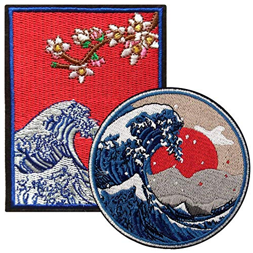 Ebateck Kanagawa Wave Patch Sew On Iron On Patches, 2 Pack Large Size, Embroidered Applique Badge Great for Jackets Backpacks Hats, Japanese Folk Art Gift