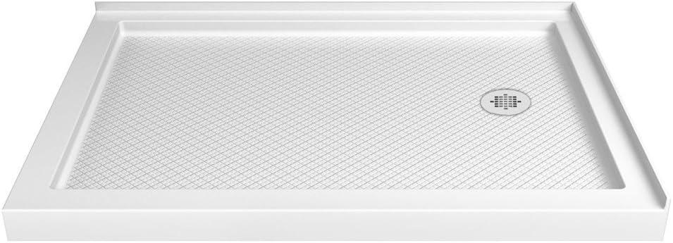DreamLine SlimLine 36 in. D x 48 in. W x 2 3/4 in. H Right Drain Double Threshold Shower Base in White, DLT-1036482