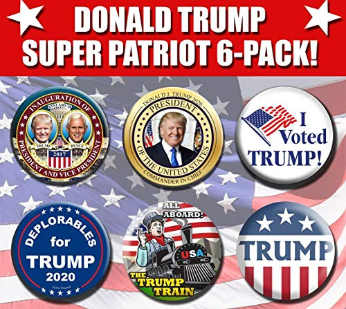 (Donald Trump Super Patriot 6-pack - Six of my Most Popular Buttons - Inauguration - Gold Commander in Chief - Deplorables - Trump Train - Captain America - I Voted Trump - Pins - Badges)