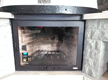 Door For Fireplace With Vitro Ceramic Glass And Air Input Regulator