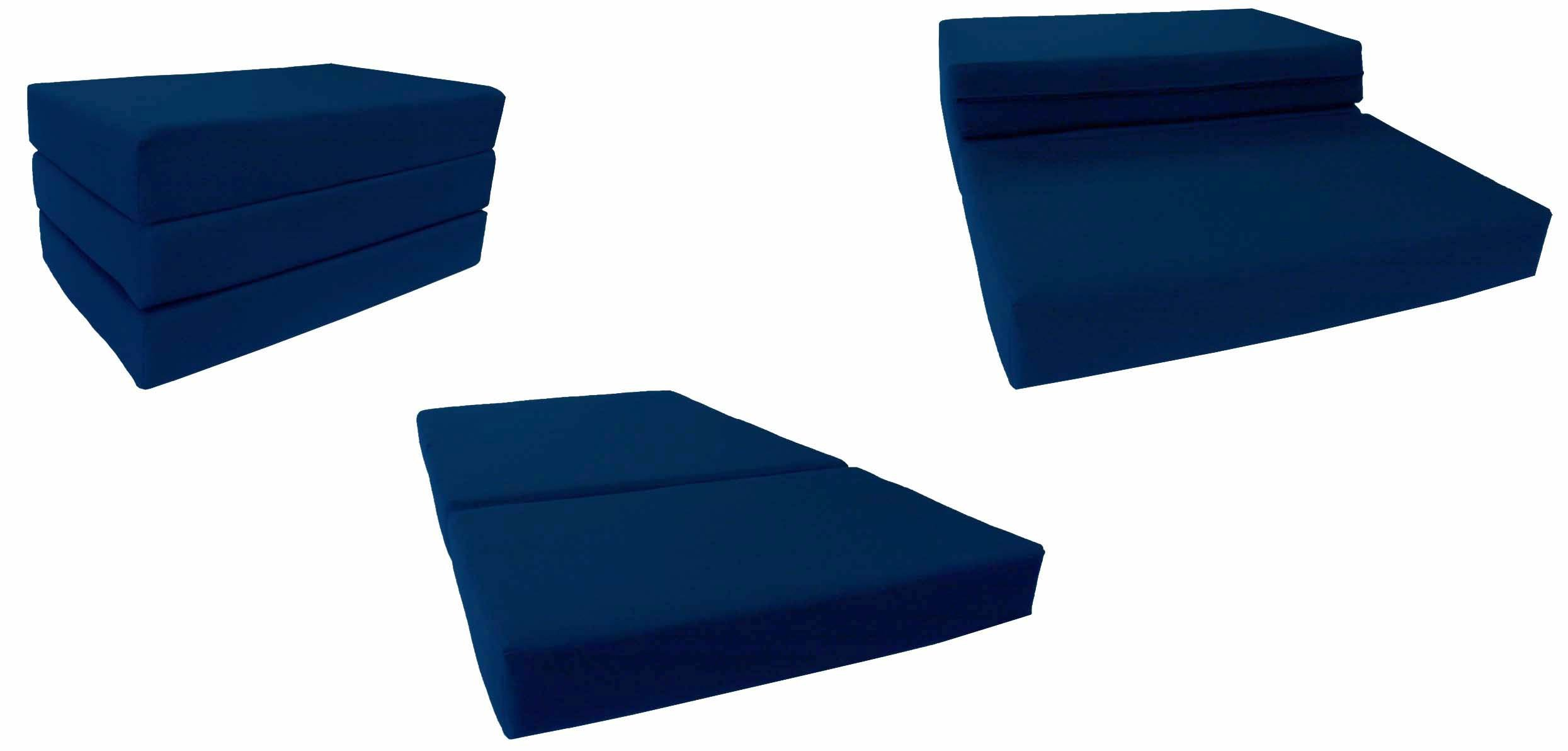 Navy Solid Twin Size Shikibuton Trifold Foam Beds 6 Thick x 39 W x 75 inches Long, 1.8 lbs high density resilient white foam, Floor Foam Folding Mats.