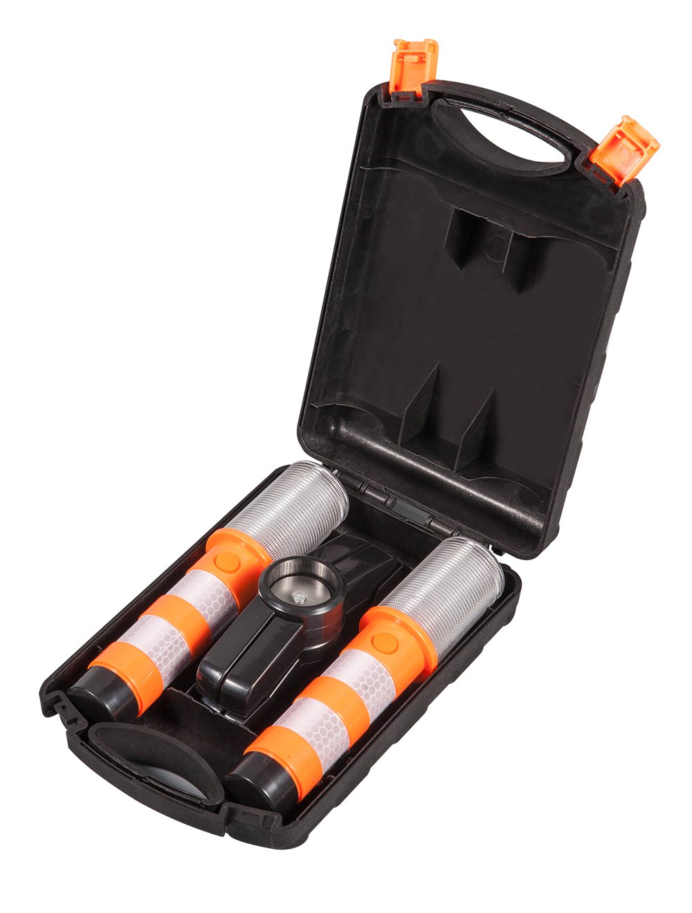Boli Red LED Emergency Roadside Flares - Magnetic Base and Upright Stand - Road Flares come with Batteries and Solid Storage case.