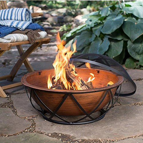 Wood Burning Fire Pit in Bronze Finish with Mesh Spark Screen, Screen Lift Tool, Vinyl Cover, and Wood Grate
