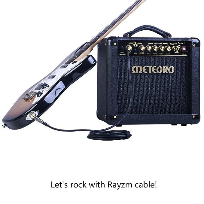 Rayzm Cable de la Guitarra - 5m Silencioso Guitarra / Bajo Plomo, 1/4