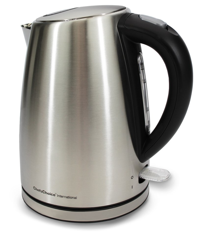 Chef'sChoice 681 Cordless 1500-Watt Electric Kettle Handsomely Crafted in Brushed Stainless Steel Includes Concealed Heating Element Boil Dry Protection and Auto Shut Off, 1.7-Liter, Silver