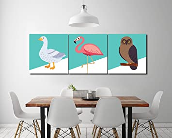 LB Ölgemälde Wand Kunst Dekor Auf Segeltuch, Flamingo Ente Und Eule 3 Tafel