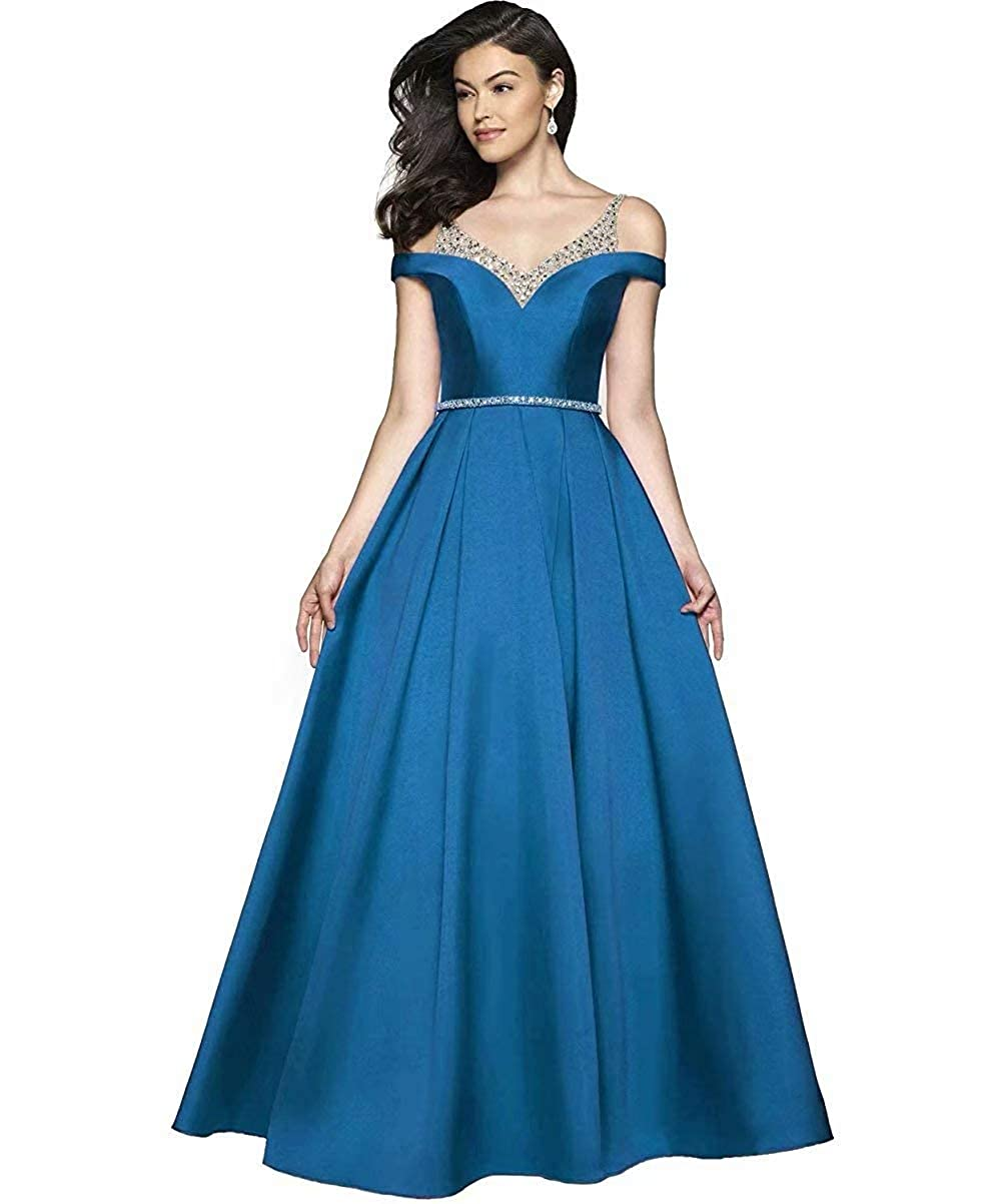 bluee JYDX Women's Cold Shoulder V Neck Pleated Satin ALine Evening Prom Dress Long Formal Party Gown with Beaded Bodice