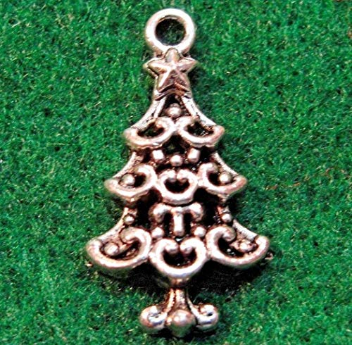 50Pcs. Wholesale Tibetan Silver Christmas Tree Charms Pendants Ear Drops Q0554 Crafting Key Chain Bracelet Necklace Jewelry Accessories Pendants