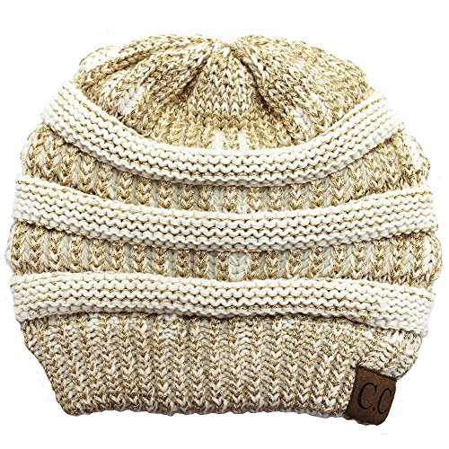 ft Cable Knit Skull Cap Slouchy Beanie Winter Hat (Ivory/Metallic Gold) ()