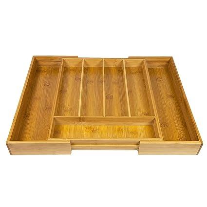 Woodluv - Organizador de cubiertos, ampliable, 5-7 compartimentos, bambú, para cajón de la cocina: Amazon.es: Hogar