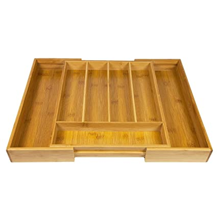 Woodluv - Organizador de cubiertos, ampliable, 5-7 compartimentos, bambú,