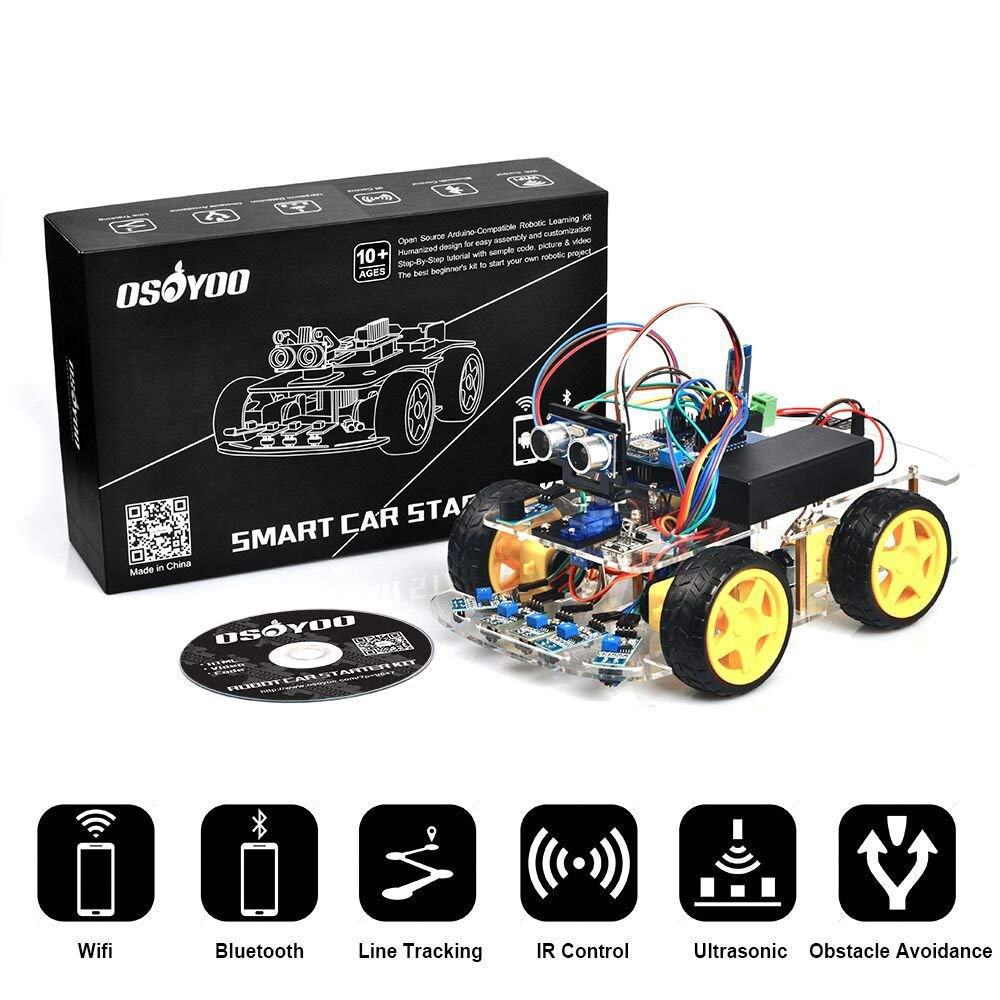 OSOYOO Robot Smart Car for Arduino DIY Learning Kit with Tutorial Android/ iOS APP WiFi Bluetooth IR Modules and Line Tracking Ultrasonic Sensors Science Fair by OSOYOO