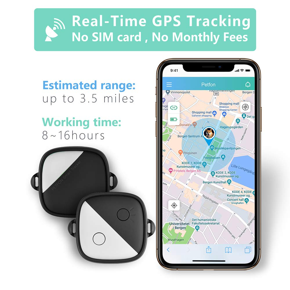 PETFON Pet GPS Tracker(iOS ONLY), Real-Time Tracking Device,No Monthly fee,  APP Control for Dogs