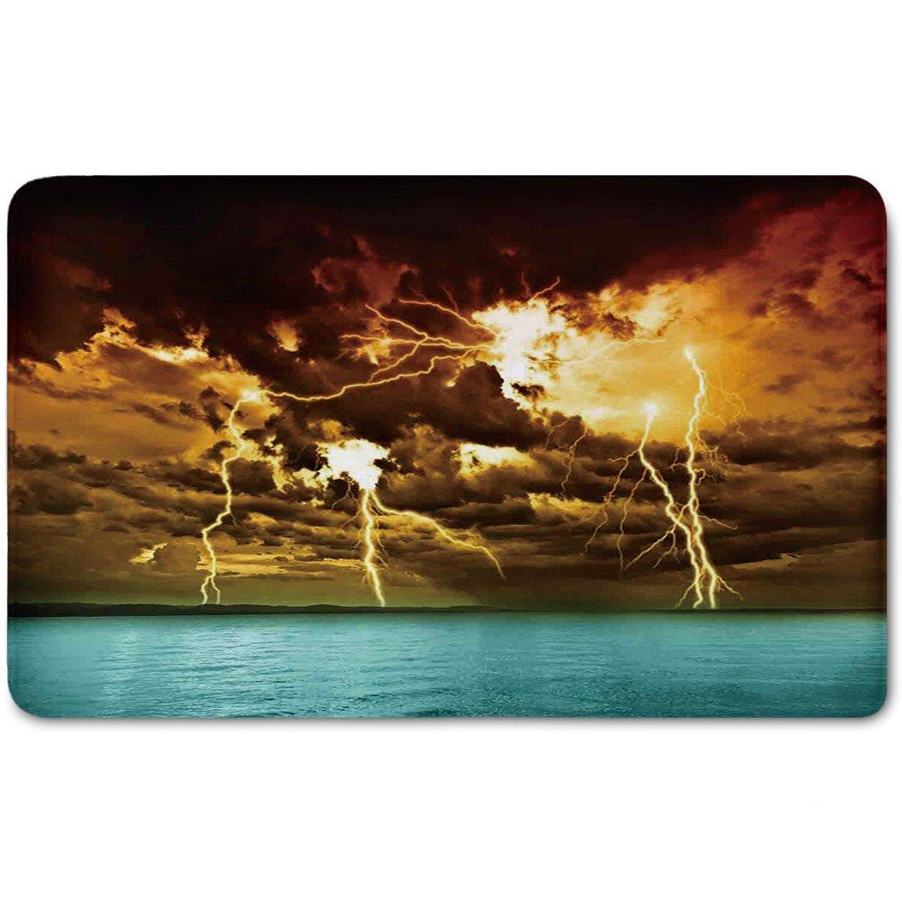 Memory Foam Bath Mat,Nature,Flash Storm over the Lake with Large Rain Clouds Miracle Solar Illumination PhotoPlush Wanderlust Bathroom Decor Mat Rug Carpet with Anti-Slip Backing,Blue Yellow