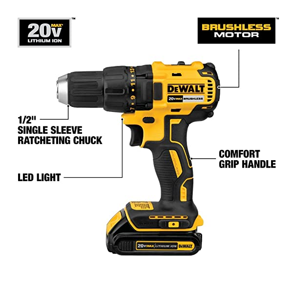 DEWALT DCD777C2 20V Cordless Drill is easy-to-use for a beginner but is still powerful enough for a professional.