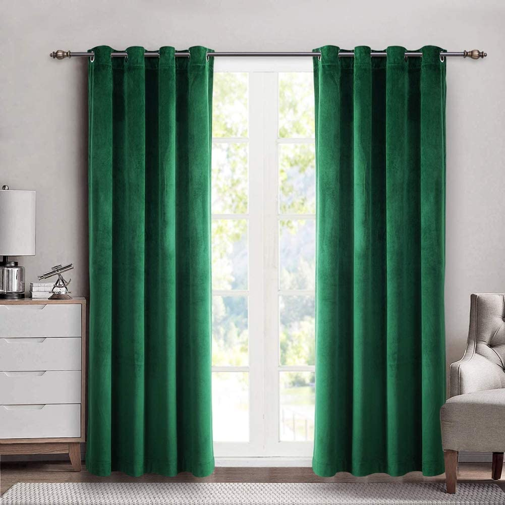 SINGINGLORY Velvet Curtains 2 Panels Set, Blackout Thermal Insulated Velour Grommet Drapes with 2 Tiebacks for Bedroom and Living Room (52 x 84 inch, Green)