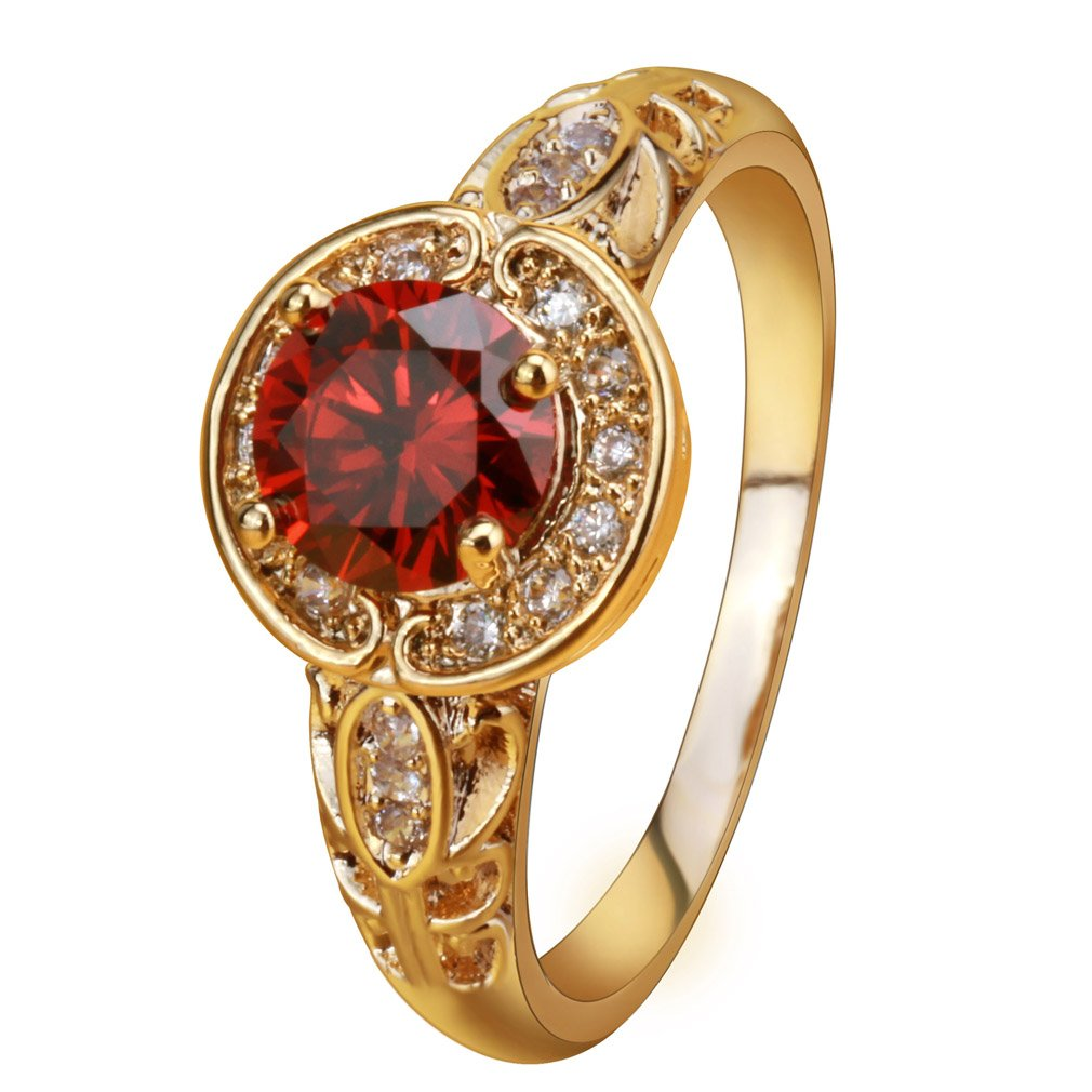 YAZILIND Women Gold Plated Round Pave Red Created Ruby Leaf Carved Vintage Style Promise Band Ring Size 8
