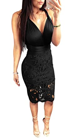 8acc234a81e Women Sexy Lace Dress Bodycon Strap V Neck Sleeveless Mini Bandage Slim Fit  Party Skirt Tassel